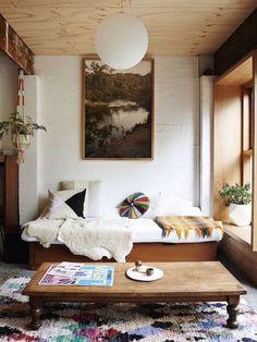 Low coffee table, big window, lots of light