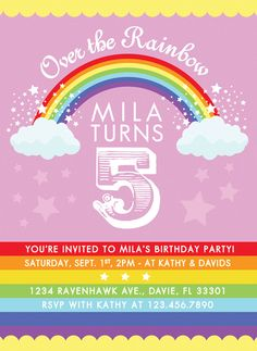 Colorful Rainbow Birthday Party Invitation PRINT YOUR OWN Any