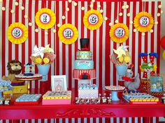 Awesome dessert table at a circus birthday party! See more party planning ideas at CatchMyParty.com!