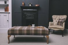 Tartan , Tweed and Wool Footstool Small Lounge Rooms, Queen Anne Furniture, Cottage Interiors, Traditional House, Home And Living, Living Room Decor, Living Rooms, Ideal Home, Interior Design