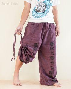 Hindu Om Script Convertible Textured Cotton Aladdin Pants (Purple)