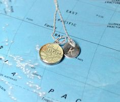 Petite Custom Map Necklace with Hand Stamped Sterling Charm