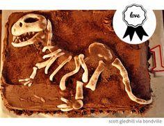 Dinosaur bones birthday cake via Bondville