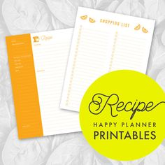 Printable Regular Happy Planner Recipe Inserts by OMGStationeryCo