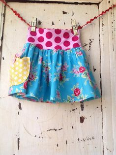 Girls Yoga Style Skirt - Vintage turquoise and pink flowers Modern Skirt
