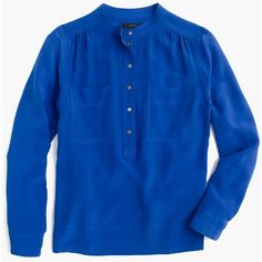 J.Crew Silk Popover Shirt ($150) ❤ liked on Polyvore featuring tops, j crew shirt, j crew tops, shirt top, long blue shirt and blue top