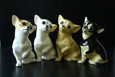 Chihuahua dog figurine ceramics handmade, statuette porcelain by RussianArtDogs on Etsy Spitz Dogs, Chihuahua Puppies, Chihuahuas, American Eskimo Dog, Puppy Day, Pet 1, Australian Shepherd Dogs, Cute Animals, Handmade