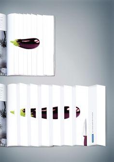 Tramontina Knife www.tramontina.com: Eggplant by Horizon FCB Saudi Arabia @fcbglobal. Horizon FCB Soudi Arabia has created this 'Cutting Edge' print campaign to promote Tramontina Knife.