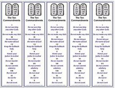 (Ten ways to be perfect) Five printable Ten Commandments bookmarks print per page, free printable from ActivitiesForKids.com  - great handout for VBS