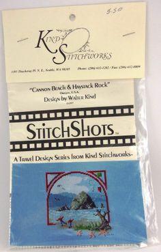 "Cross Stitch Pattern ""Cannon Beach & Haystack Rock"" Travel Design Series"