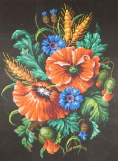 Hand-drawn symbols were added to the squares to denote the shade changes, and the shaded colours painted by hand onto these squares for the needlewomen of the time to stitch onto canvas or linen. An exquisite hand-painted Berlin Woolwork chart depicting a beautiful and unusual arrangement of field flowers - Poppies, Cornflowers and ears of Wheat. | eBay!