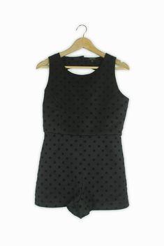 33438670d2f River Island black  amp  velvet polka dot playsuit Size 10  fashion   clothing