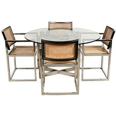 1960s Florence Knoll Dining Set, S/5 (€2.720) ❤ liked on Polyvore featuring home, furniture, square dining set, chrome table and chairs, chrome dining set, 60s furniture and 1960s furniture