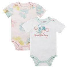 Burt's Bees Baby Girls' Organic 2 Pack Morning Glory Bodysuits - White 12M, Size: 12 Months