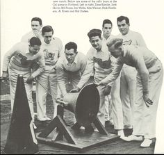 Oregon cheerleaders ring the UO victory bell during the 1937 Cal-Oregon football game at Multnomah Civic Stadium in Portland.  From the 1938 Oregana (University of Oregon yearbook).  www.CampusAttic.com