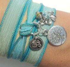 Tree of Life Silk Wrap Bracelet Om Jewelry by BohemianEarthDesigns, $27.95
