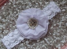 White Vintage Flower with Pearls & Rhinestones on White Lace Baby Headband - Newborn Infant Girl Teen Adult - Photo Prop on Etsy, $9.95