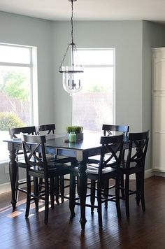 Wall paint color is Rainwashed by Sherwin Williams. Another versatile mid-tone blue/gray/green with a little warmth.
