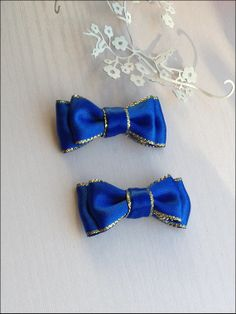 New year royal blue and gold bow hair clip set. by SayYouLove, $5.00