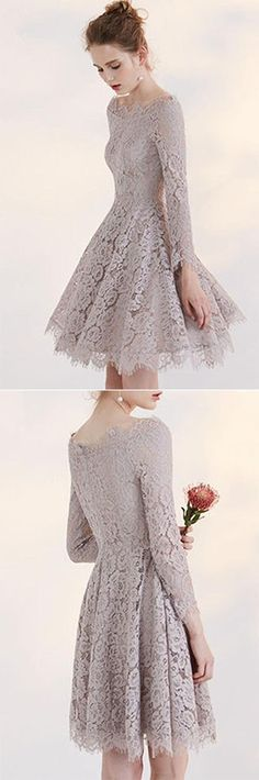 2017 New Arrive Fashion Temperament Homecoming Dress With Lace Appliques,Long Sleeves Sweet 16 Cocktail Dresses,A-Line Graduation Dress,Homecoming Dress,BHR4
