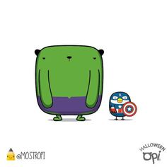 #opi #kipi #cute #kawaii #mostropi #hulk #capitanamerica #halloween