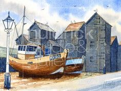 Watercolor Sketch, Watercolor Portraits, Watercolor Paintings, Watercolours, Hastings East Sussex, Medieval Knight, Famous Artists, Fishing Boats, Sketches