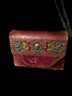 ANTIQUE FRENCH LEATHER HARPY CARD CASE $130 http://www.gothicroseantiques.com/AntiqueFrenchLeatherCardGameCasewithWingedHarpys.html