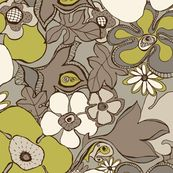 Floral Doodles in in taupe beige olive by delinda_graphic_studio