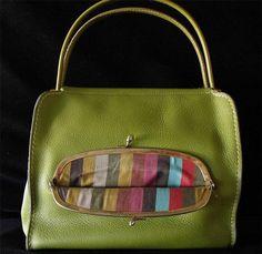 BONNIE CASHIN COACH Lime Green Leather Tote Bag Kisslock Mexican Stripe RARE VTG #BONNIECASHINCOACH #Tote