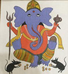 Blue Ganesha Gond Painting