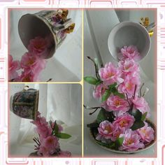 OK Floating Tea Cup, Origami, Art N Craft, The Fool, Cup And Saucer, Glass Vase, Tea Cups, Centerpieces, Projects To Try