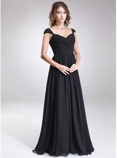 A-Line/Princess Sweetheart Floor-Length Chiffon Bridesmaid Dress With Ruffle Beading Sequins (007016866) - JJsHouse