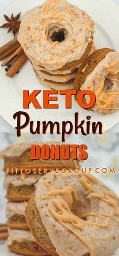 These Keto Pumpkin Cream Cheese Donuts are a pumpkin season delight. - These Keto Pumpkin Cream Cheese Donuts are a pumpkin season delight. Packed with the flavors of Fall they are sure to be a hit. They are grain-free, . Donuts Keto, Keto Pancakes, Donuts Donuts, Low Carb Keto, Low Carb Recipes, Pumpkin Recipes Keto, Ketogenic Recipes, Egg And Bread Recipes, Comida Keto