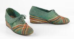 Shoes Salvatore Ferragamo Italian ca. 1938-40 straw
