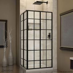 "DreamLine French Corner 34.5"" x 34.5"" x 72"" Sliding Shower Enclosure & Reviews 