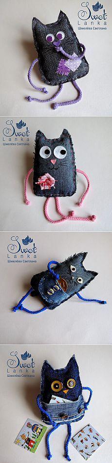 Творческая мастерская Шмелёвой Светланы.: Веселые котики из джинсовой ткани :-)