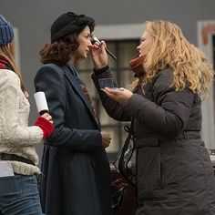 """""""Claire"""" getting make-up on set"""
