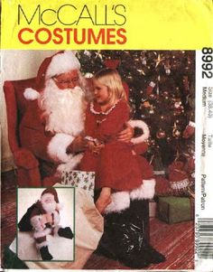 """McCall's Sewing Pattern 8992 Mens Chest Size 34-36"""" Santa Claus Costume Gift Bag Stuffed Santa Doll      McCall's+Sewing+Pattern+8992+Mens+Chest+Size+34-36""""+Santa+Claus+Costume+Gift+Bag+Stuffed+Santa+Doll"""