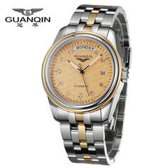 Tops Luxury Brand GUANQIN Men Watch Mechanical Automatic Diamond Steel Sapphire Waterproof Male Watches Men Fashion Watch