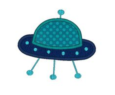 Alien Ship Applique Machine Embroidery Design by SewChaCha on Etsy, $3.00