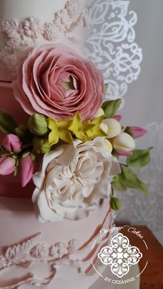 A selection of the sugar flowers, ranunculus, David austin rose, filler flowers and foliage against the textured backdrop of the pink wedding cake David Austin Roses, Sugar Flowers, Ranunculus, How To Make Cake, Cake Designs, The Selection, Backdrops, Wedding Cakes, Romantic