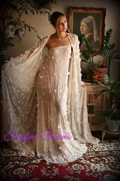 Embroidered Lace Bridal Robe Flower Wedding Lingerie Lace Kimono Robe Bridal Lingerie Ivory Lace Sleepwear Gold Bridal Lingerie – My Wedding Dream Lace Bridal Robe, Bridal Lingerie, Bridal Robes, Bridal Dresses, Lace Wedding, Lingerie Retro, Pretty Lingerie, Fru Fru, Lace Kimono