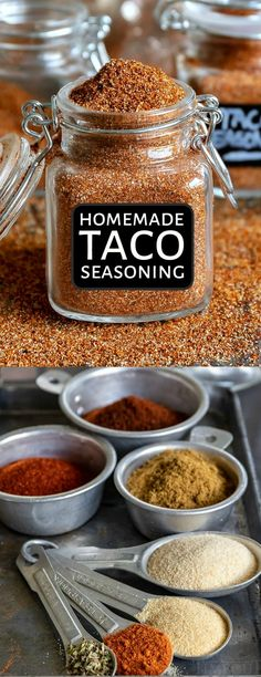 diy taco seasoning This easy homemade Taco Seasoning recipe is a pantry staple! It adds amazing flavor to beef, chicken, veggies and more! We love using it with enchiladas, tacos, bu Easy Taco Seasoning Recipe, Taco Seasoning Ingredients, Low Carb Taco Seasoning, Chicken Taco Seasoning, Mexican Seasoning, Taco Seasoning Mixes, Chili Seasoning, Homemade Spices, Homemade Seasonings