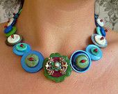 Vintage Button necklace -  Blue and pink jasperware necklace. ££24.00 GBP, via Etsy.