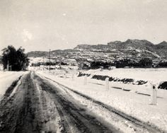 Plummer Street in Chatsworth after snowfall, January 11, 1949. The hills in the background are part of the Santa Susana Mountains that surround Box Canyon. Canoga-Owensmouth Historical Society. San Fernando Valley History Digital Library.