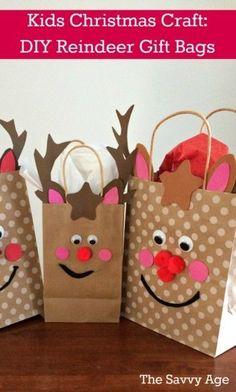 Christmas Kids Craft! DIY Reindeer Gift Bags. #kidschristmas  #reindeerchristmas