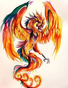Phoenix Watercolor Tattoo Design                                                                                                                                                     More