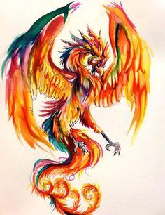 Phoenix Watercolor Tattoo Design                                                                                                                                                     More