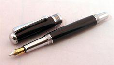 Pure Black Greek Key Fountain Pen