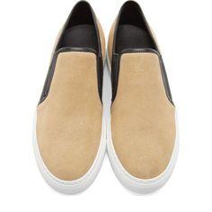 Balmain Beige Suede Slip-On Sneakers
